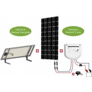 KIT SOLAIRE 100W site isolé : 1 panneau photovoltaïque 100 W - 1 régulateur PWM 12/24 V 10 A - Marque Uniteck