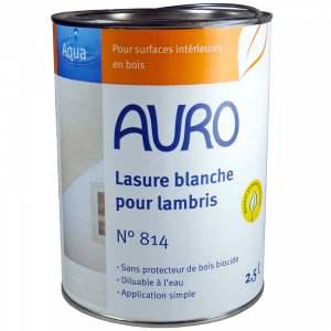Lasure écologique pour lambris - intérieur & extérieur - blanche - Marque Auro - Gamme Aqua - N° 814 (2,5 litres)