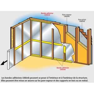 Bande adhésive pour pare-vapeur - OSB - écran de sous-toiture - pare-pluie - Ubbink 60 mm sur 40 mètres