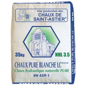 Chaux hydraulique NHL 3,5 - pure blanche - Marque Chaux & Enduits Saint-Astier (sac de  35 kg)