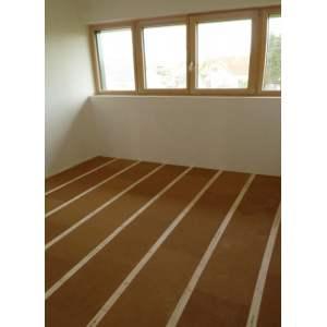 Panneau en fibre rigide pour plancher - Rainure et languette - Modèle Steico Floor - Marque Steico.