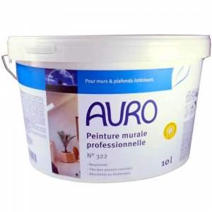 Peinture murale et pour plafond écologique professionnelle (blanche mate) - Marque Auro - N° 322 (seaux de 5 et 10 litres)