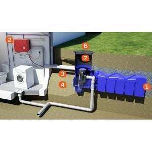 Pack récupérateur d'eau de pluie - Pour maison et jardin - Pack Premium - Cuve F-Line - Marque Rewatec.