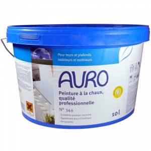 Peinture à la chaux - qualité professionnelle - intérieur et extérieur - murale &  plafond - blanche mate - Marque Auro - N° 344