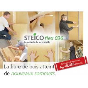 STEICO FLEX 036 - Laine de bois en panneaux semi-rigides - 1220 mm / 575 mm - Marque Steico (épaisseur de 20 à 240 mm)