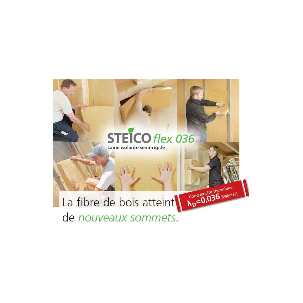 steico flex 036 laine de bois en panneaux semi rigides 1220 mm 575 mm marque steico. Black Bedroom Furniture Sets. Home Design Ideas